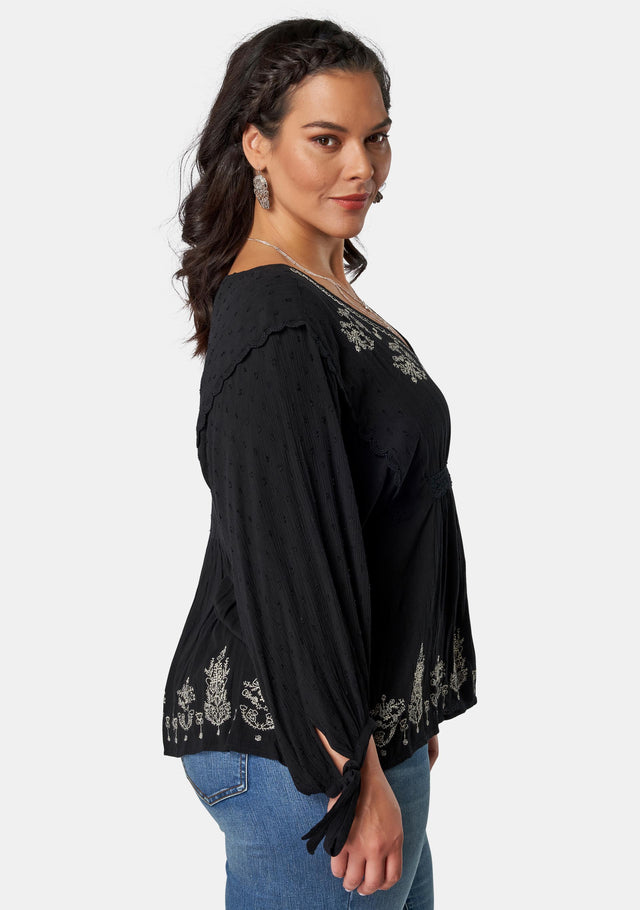 Salutation Embroidered Top