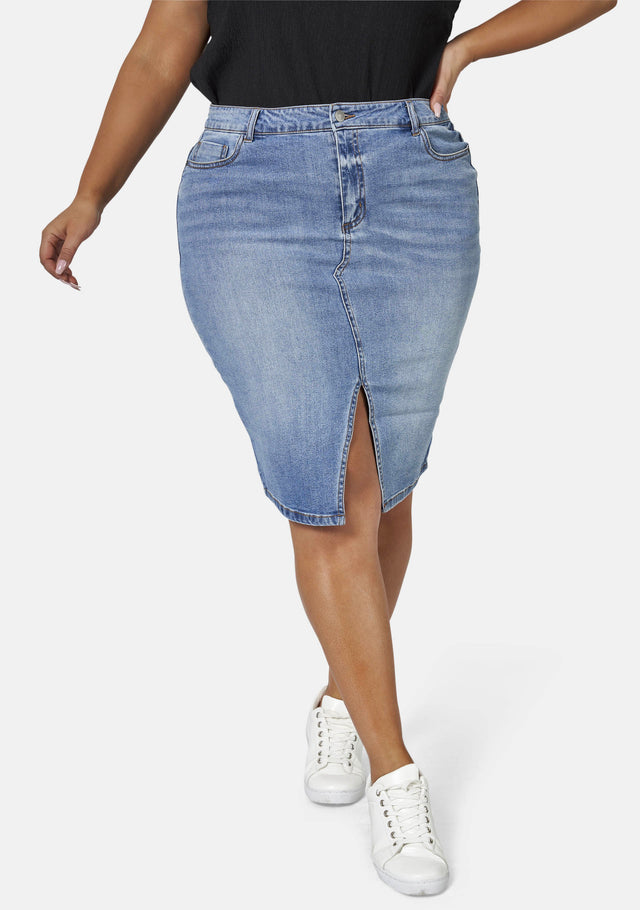 Two Men Down Denim Skirt
