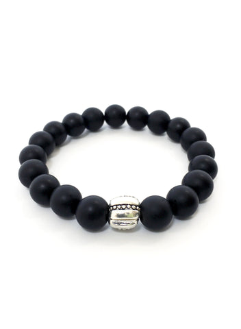 Unisex wristband with Matte Onyx and Silver tone Clip on Lock