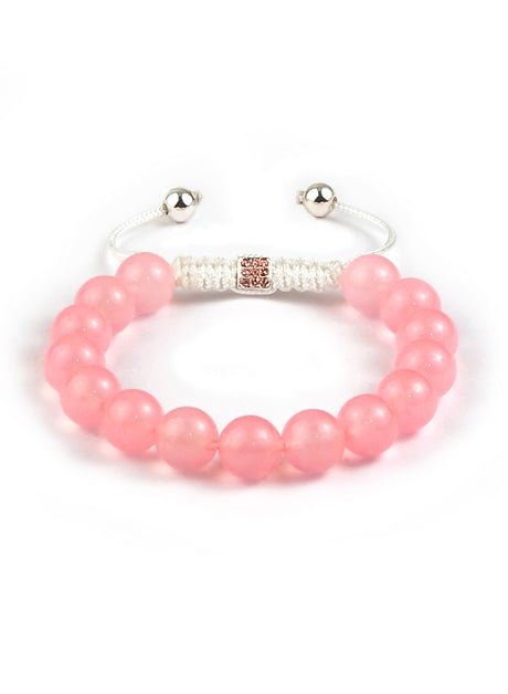 Women's macramé bracelet with polished Pink Chalcedony (Rose Quartz) and Lock with 9 Pink Crystals and 925 sterling silver