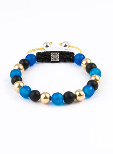 Unisex macramé bracelet with 14K Gold, Matte Onyx, faceted Blue Agate and Lock with 9 gunmetal Crystals and Sterling Silver 925