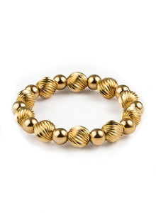 Women's elastic wristband with corrugated 14K Gold