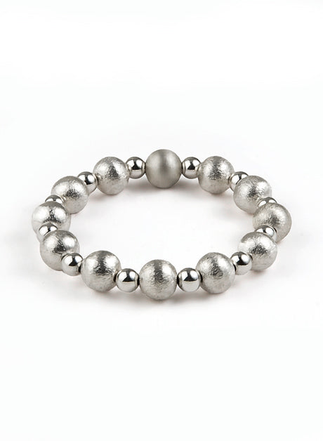 Women's elastic wristband with brushed sterling silver 925 and polished sterling silver 925