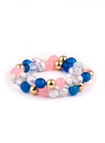 Women's elastic wristband wrap with 14K Gold, Rose Quartz, faceted Blue Agate, Howlite and Crystal AB