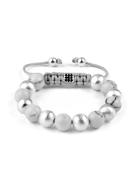 Women's macramé bracelet with Howlite and brushed Sterling Silver 925 and Lock with 9 clear Crystals and Sterling Silver 925