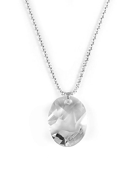 "Women's substantial 3mm mesh sterling silver chain with 36mm Swarovski lead-free ""Advanced Crystal"" pendant designed by Jean-Paul Gaultier"