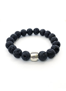 Unisex wristband with Lava Stone and Silver tone Clip on Lock