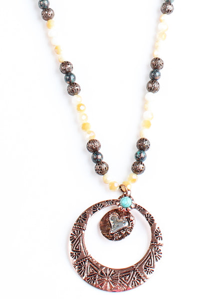Copper Heart Necklace with Multi- Colored Beads
