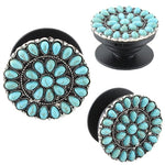 Round Turquoise , Red or Ivory Stone Mandala Phone Grip Pop Up