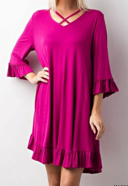 Magenta 3/4 Sleeve Dress with Criss Cross
