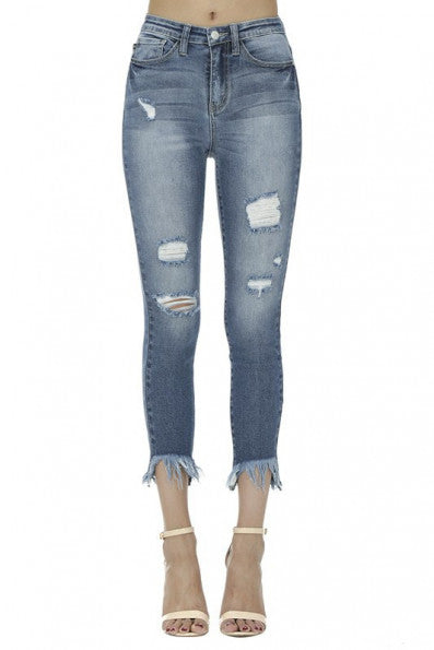 Judy Blue Frayed and Distressed Jeans