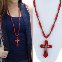Red Cross Beaded Necklace
