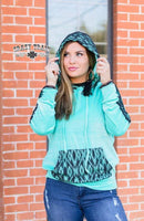 Turquoise and Black Lace Hoodie
