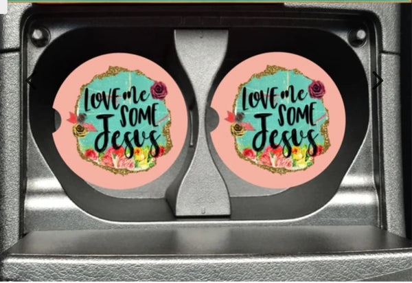 Love Me Some Jesus Car Coasters