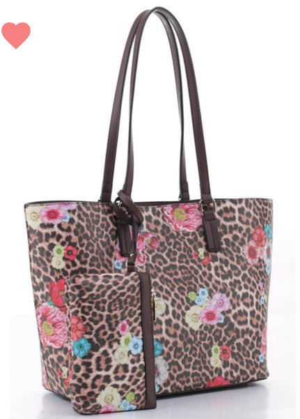 Floral Leopard Purse 2 Piece Set