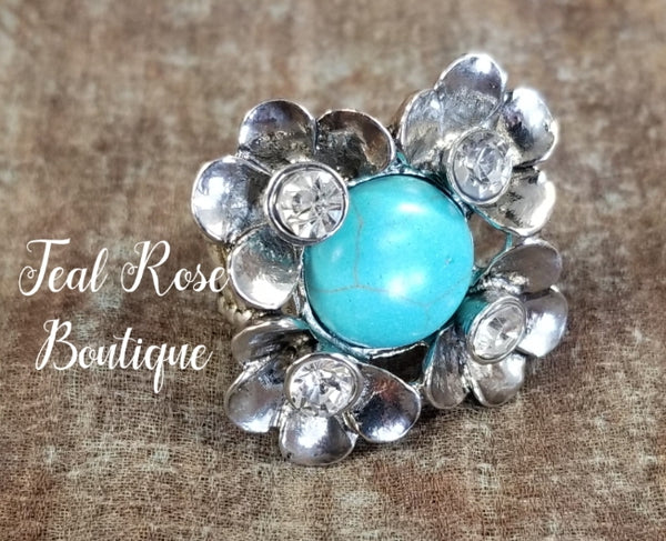 Flower withTurquoise Stone and Rhinestones Ring