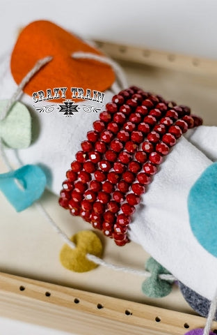 Monroe Red Crystal Beaded Bracelet
