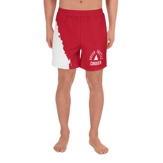 Dream Hustle Conquer Men's Red Athletic Long Shorts