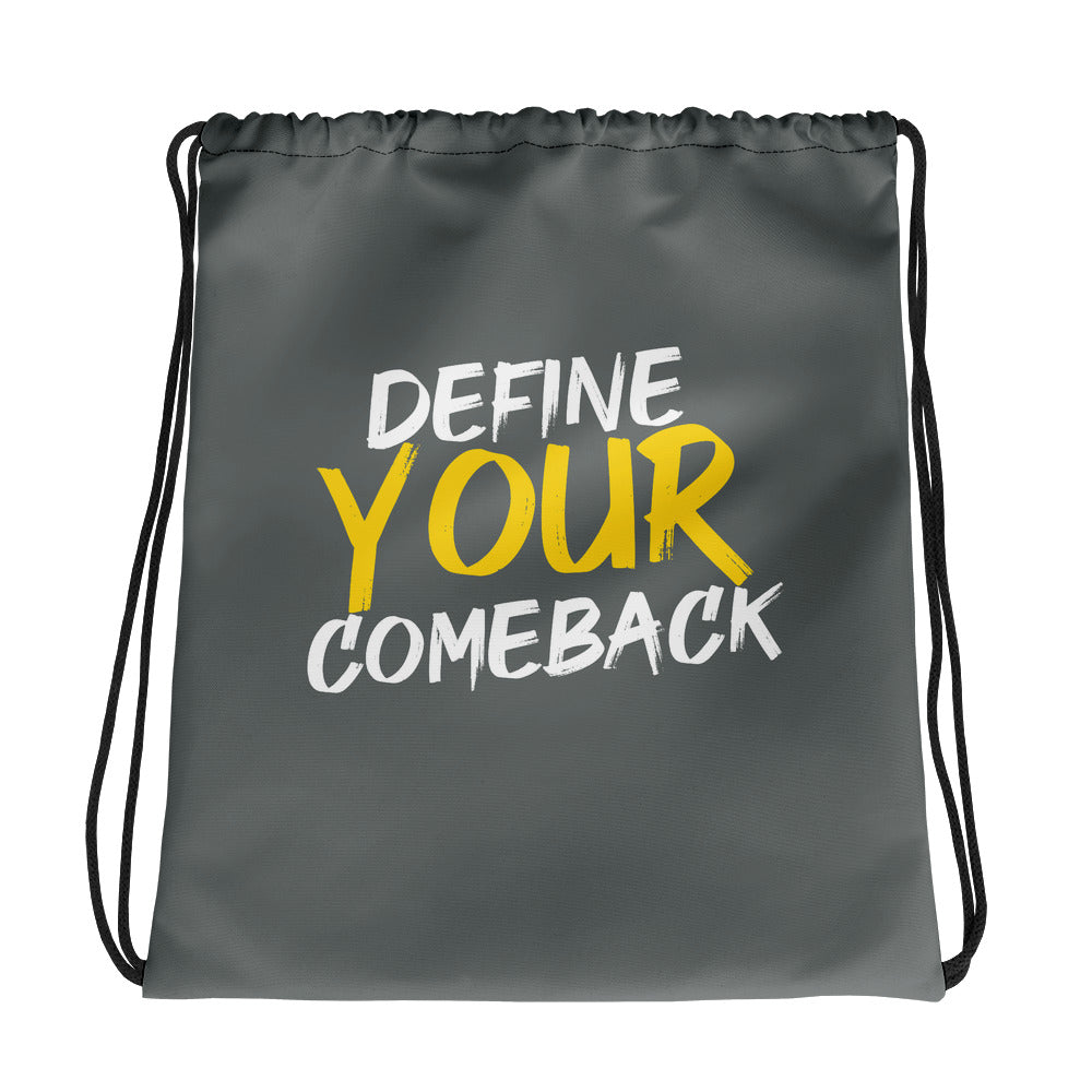 Define Your Comeback Grey Drawstring Bag
