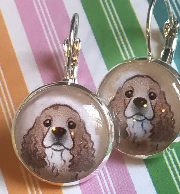 Cocker spaniel glass cabochon earrings- 16mm