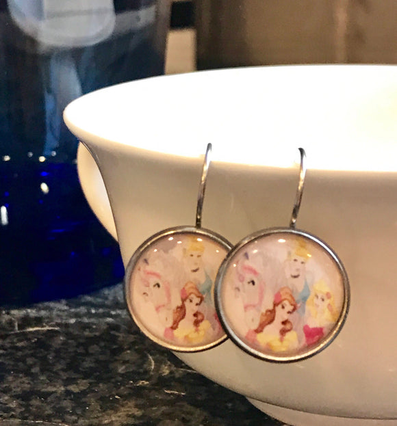 Princesses glass cabochon earrings - 16mm