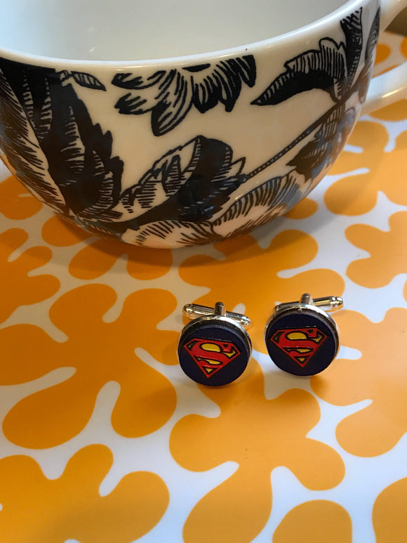 Superman glass cabochon cufflinks - 16mm