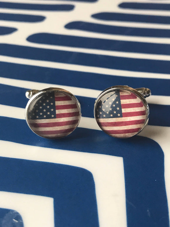 American flag glass cabochon cufflinks- 16mm