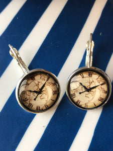 Clock glass cabochon earrings - 16mm