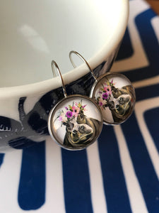 Hippo glass cabochon earrings - 16mm