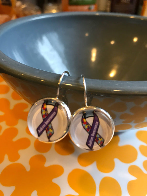 Autism awareness cabochon earrings- 16mm