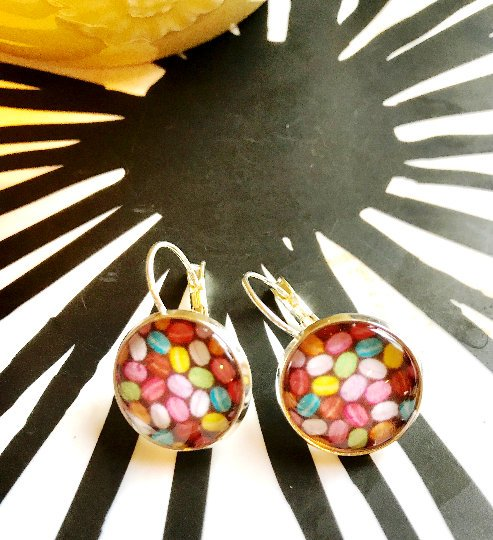French macaron cabochon earrings- 16mm