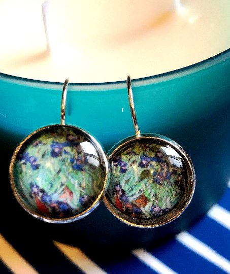 Van Gogh Irises cabochon earrings- 16mm