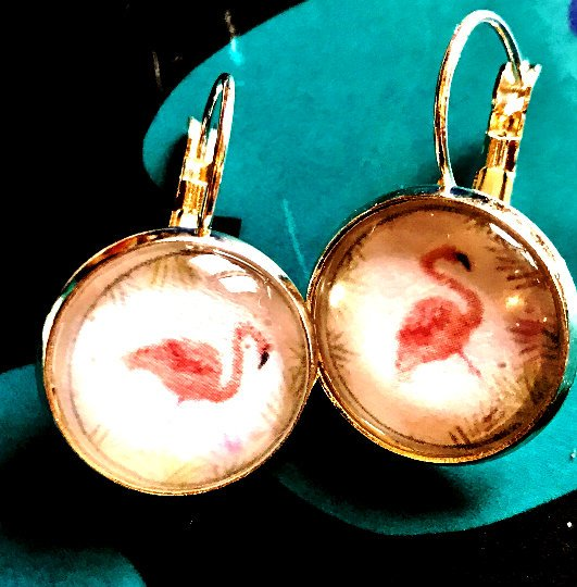 Pink Flamingo cabochon earrings- 16mm