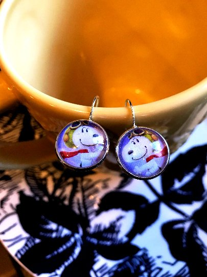Snoopy Flying Ace cabochon earrings- 16mm