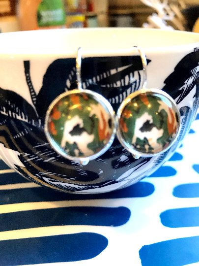 Camouflage cabochon earrings- 16mm