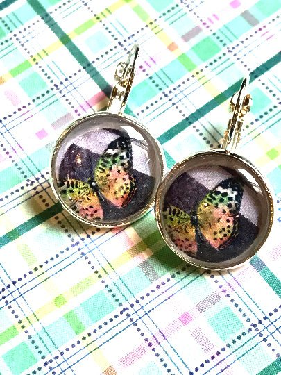 Butterfly cabochon earrings- 16mm