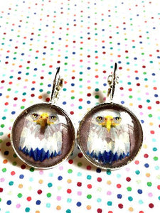 Eagle cabochon earrings- 16mm