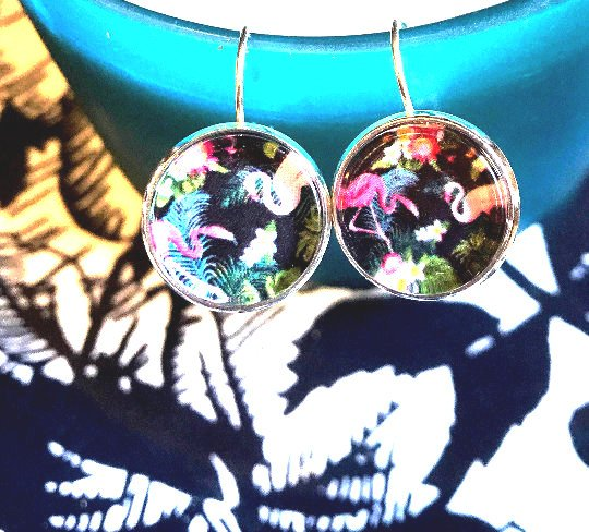Flamingo cabochon earrings- 16mm