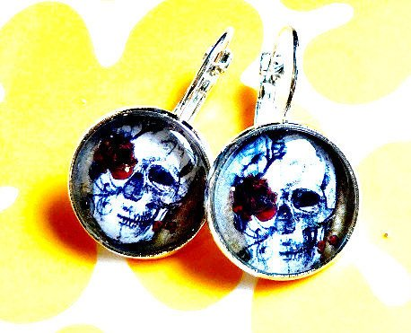 Steampunk Skull Rose glass cabochon earrings- 16mm