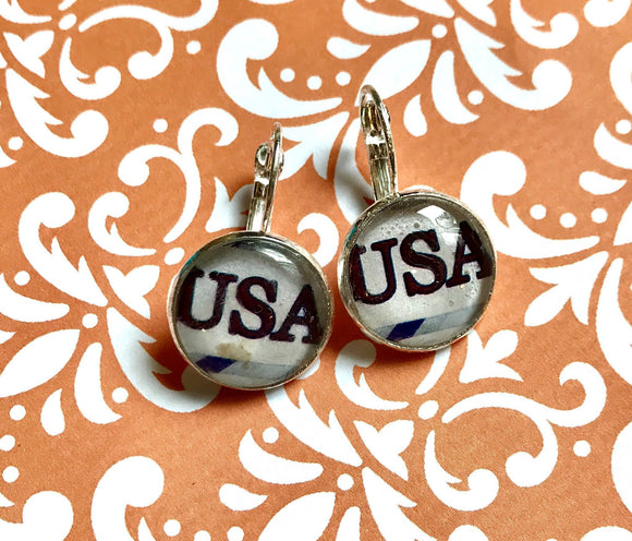 America USA glass cabochon earrings- 16mm