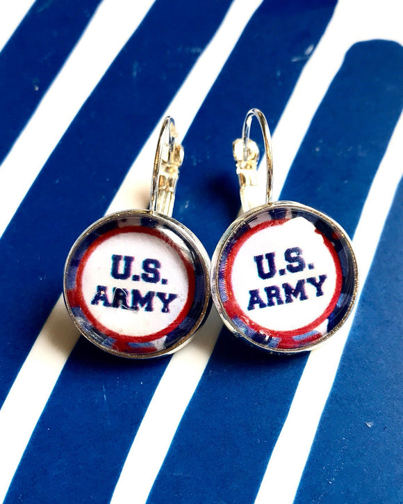 US Army glass cabochon earrings- 16mm