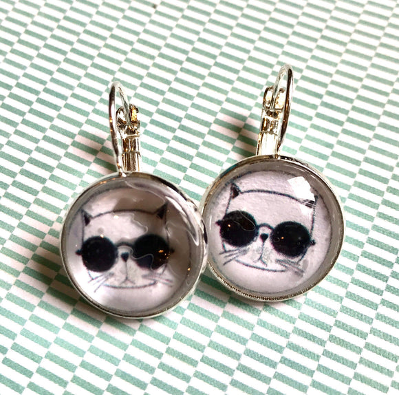 Handmade cool cat Typewriter key glass cabochon earrings- 16mm