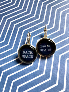 Back Space typewriter key glass cabochon earrings- 16mm