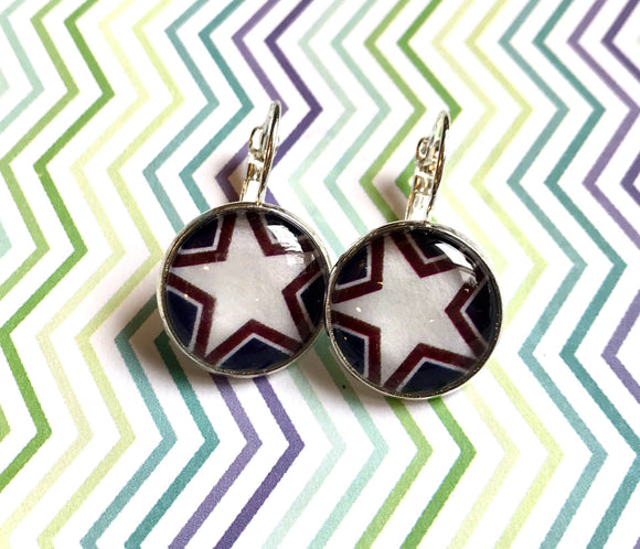 USA star glass cabochon earrings- 16mm