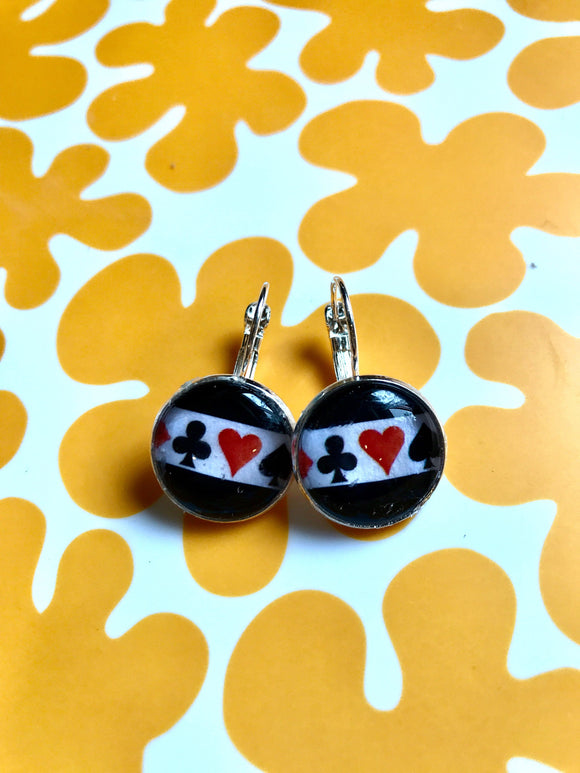 Playing card suits cabochon earrings- 16mm
