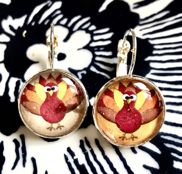 Thanksgiving turkey cabochon earrings- 16mm