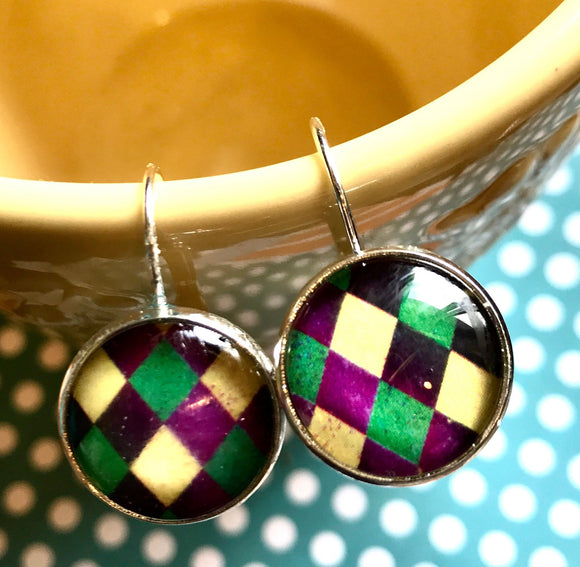 Mardi Gras cabochon earrings- 16mm