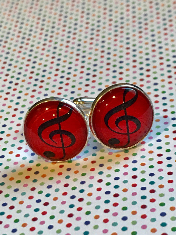 Treble clef cabochon cufflinks- 16mm