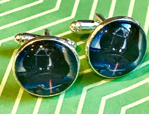 Darth Vader glass cabochon cufflinks - 16mm