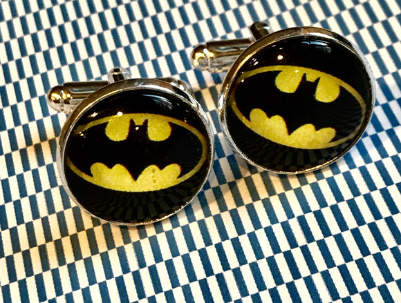 Batman glass cabochon cufflinks - 16mm